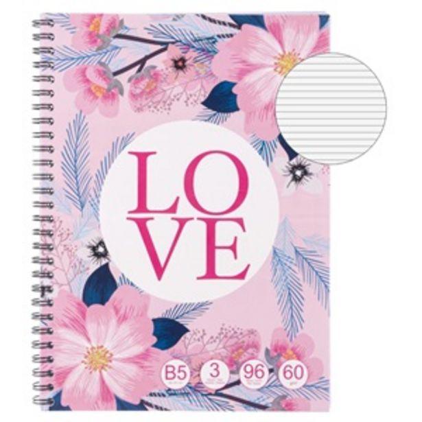 Προσφορά Τετράδιο Β5 Ροζ Λουλούδια Love - 96Φ για 1,29€