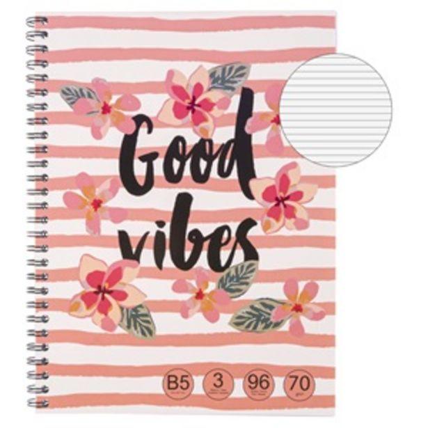 Προσφορά Τετράδιο Β5 Ριγέ Λουλούδια Good Vibes - 96Φ για 1,49€