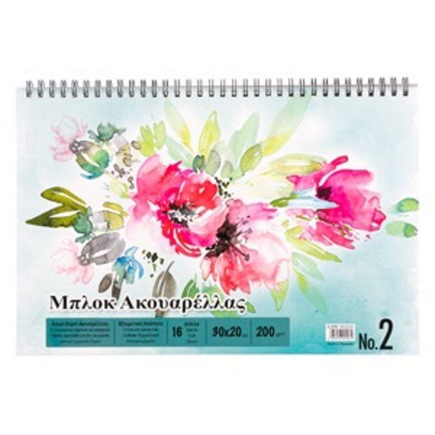 Προσφορά Μπλοκ Ακουαρέλλας Σπιράλ Λουλούδια 30x20 cm - 16Φ για 1,49€
