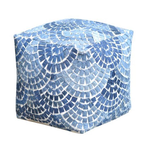 Προσφορά Πούφ Χειροποίητο Indus Blue για 45,49€