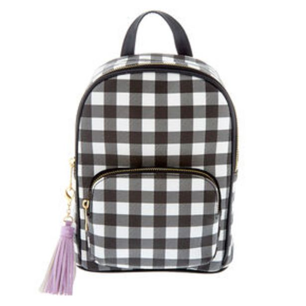 Προσφορά Gingham Print Small Backpack - Black για 18€