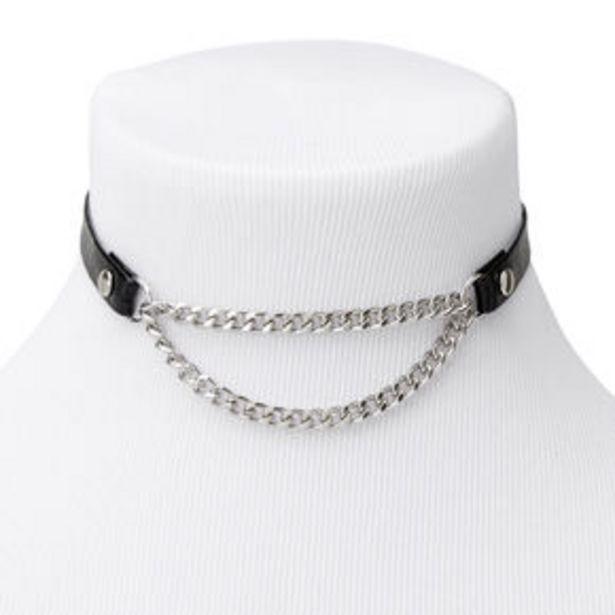 Προσφορά Silver Biker Chain Choker Necklace - Black για 4,8€