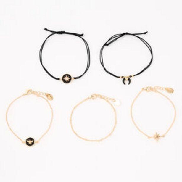 Προσφορά Gold Chain & Black Enamel Bracelet Set - 5 Pack για 6€