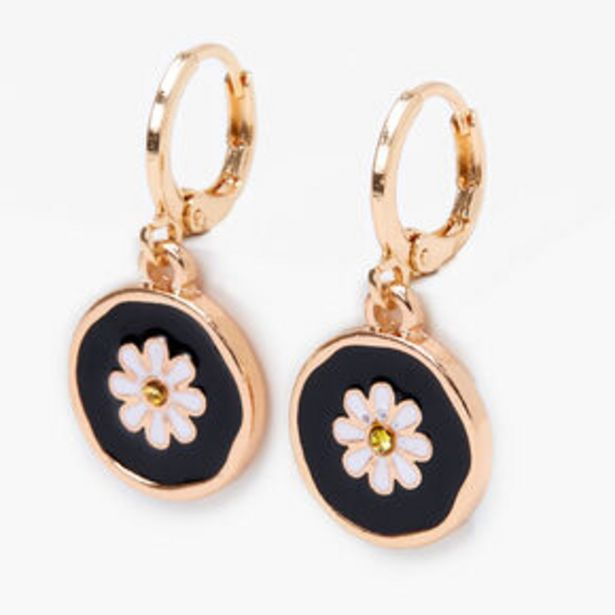Προσφορά Gold 10MM Daisy Huggie Hoop Earrings - Black για 3,6€