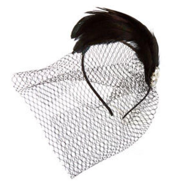 Προσφορά Feather Gem Netted Fascinator Headband - Black για 8€