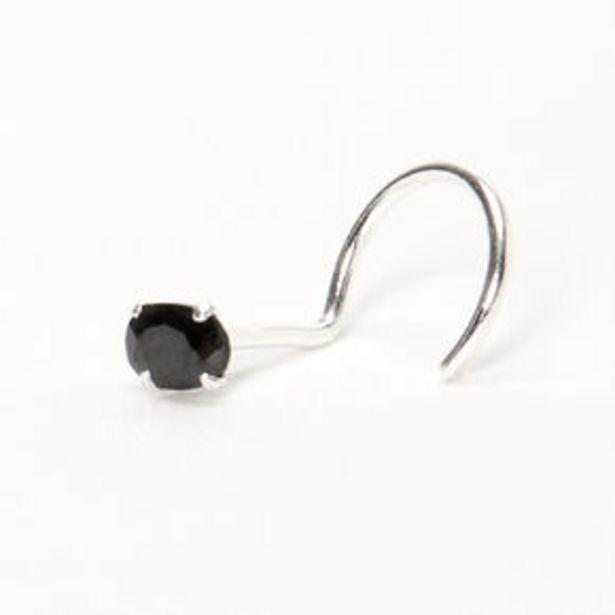 Προσφορά Silver 22G Oval Cubic Zirconia Stone Nose Stud - Black για 4€