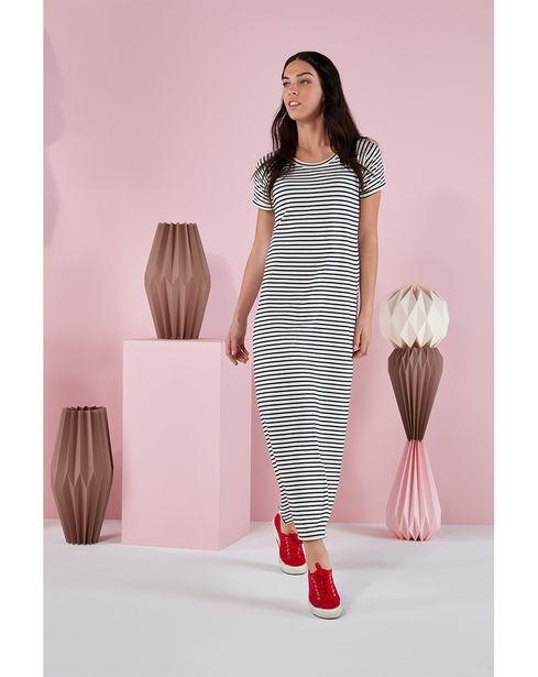 Προσφορά Γυναικείο Φόρεμα Μακρύ Κοντομάνικο Ριγέ Ασπρόμαυρο για 34,99€